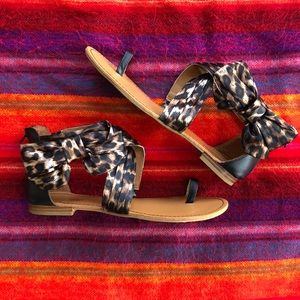 BAMBOO Satin Leopard Sandals